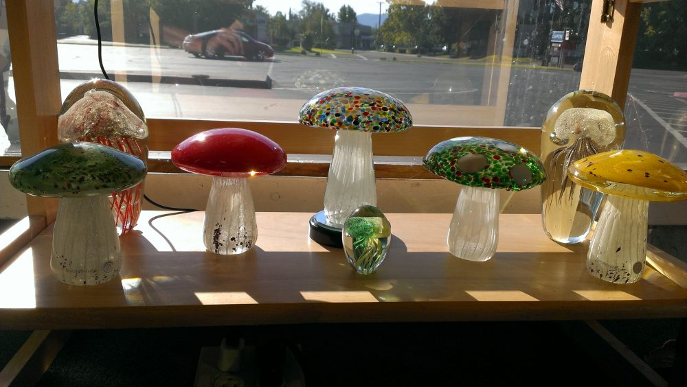 Blown Glass Mushroom Paperweights Decorations